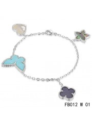 Lucky Alhambra White Gold Bracelet with 4 Stone Combination Motifs CBHS0623