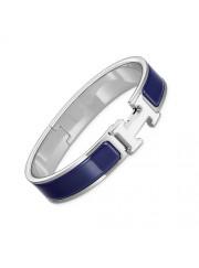 Hermes clic H bracelet white gold narrow indigo blue enamel replica