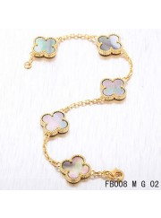 Vintage Alhambra Yellow Gold Bracelet 5 Motifs Gray Mother of Pearl