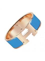 Hermes Clic Clac H bracelet pink gold wide cielo blue enamel replica