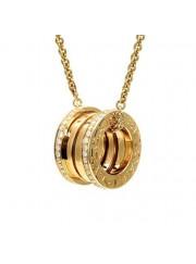 Bvlgari B.ZERO1 necklace yellow gold paved with diamonds pendant CL857028 replica