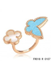 Van Cleef Arpels Lucky Alhambra Between the Finger Rose Gold Ring Stone Combination