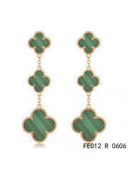 Van Cleef & Arpels Pink Gold Magic Alhambra 3 Malachite Motifs Earclips