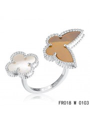 Van Cleef Arpels White Gold Lucky Alhambra Between the Finger Ring Stone Combination