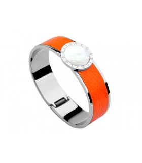 Bulgari-Bvlgari Wide Band Bangle in Steel and Orange Leather wit