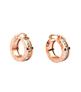 Replica Bvlgari B Zero1 Hoop Earrings In Pink Gold With Pave Dia