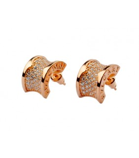 replica bvlgari bzero1 earrings in pink gold with pave diamonds