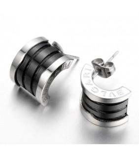 Replica Bvlgari B.ZERO 1 Earrings in White Gold With Black Ceram