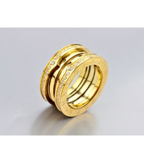 Bvlgari 3-Brand B.zero1 Ring in 18kt 18kt Yellow Gold with Pave