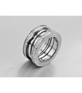 Bvlgari 3-Brand B.zero1 Ring in 18kt 18kt White Gold with Pave D