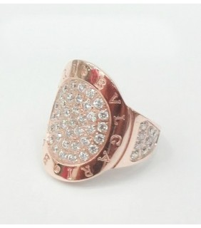 bvlgari ring in 18kt pink gold with pave diamonds