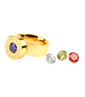 Bvlgari Ring in 18kt Yellow Gold with Colored CZ Stone