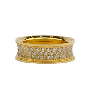 Bvlgari B.zero1 3-Band Ring in 18kt Pink Gold with Pave Diamonds