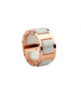 bvlgari white ceramic ring in 18kt pink gold