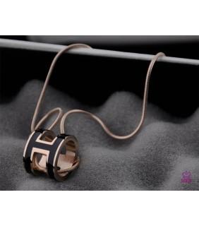 Hermes 3D Pop H Logo Snake Bone Black Necklace In Pink Gold