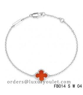 Van Cleef & Arpels White Gold Sweet Alhambra Clover Bracelet,Cornelian