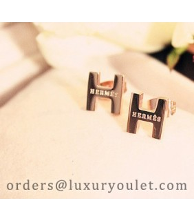 Hermes H Logo Earrings in 18kt Pink Gold