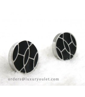 Hermes Black Enamel Stud Earrings in 18kt White Gold