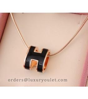 Hermes Black H Logo Charm Necklace in 18kt Pink Gold