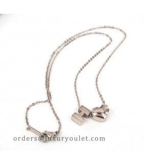 Hermes H Logo & Heart Charm Necklace in 18K White Gold