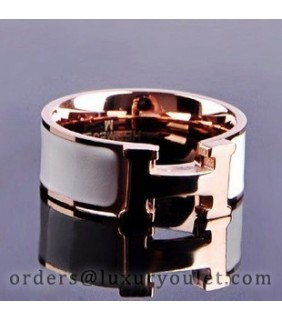 Hermes H LOGO Ring in 18kt Pink Gold with White Enamel