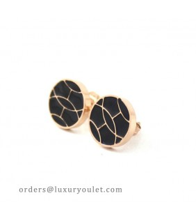 Hermes Black Enamel Stud Earrings in 18kt Pink Gold