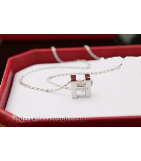 Hermes H Logo Charm Necklace 18k white gold