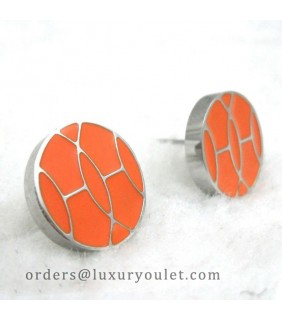 Hermes Orange Enamel Stud Earrings in 18kt White Gold