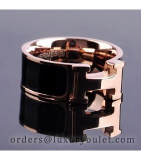 Hermes H LOGO Ring in 18kt Pink Gold With Black Enamel