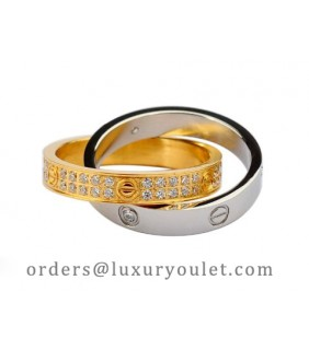 Cartier Infinity LOVE Ring in 18kt White Gold & Yellow Gold with Diamonds-Paved