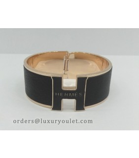 Hermes Vintage Clic Clac H Bracelet in 18kt Pink Gold with Black Leather,Wide