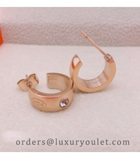 Cartier Double C Logo Earrings in Pink Gold with Diamonds