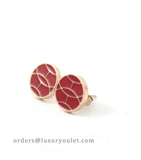 Hermes Red Enamel Stud Earrings in 18kt Pink Gold