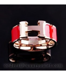 Hermes H Logo Ring in 18kt Pink Gold with Red Enamel