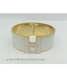 Hermes Vintage Clic Clac H Bracelet in 18kt Yellow Gold with White Leather,Wide