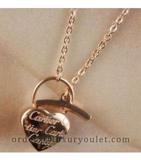 cartier Heart Lock Charm Necklace in 18k Pink Gold