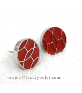 Hermes Red Enamel Stud Earrings in 18kt White Gold