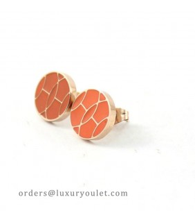 Hermes Orange Enamel Stud Earrings in 18kt Pink Gold
