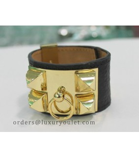 Hermes Kelly Dog Bracelet,Black Leather and Yellow Gold Cuff