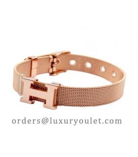 """Hermes """"H"""" Logo Bracelet in 18kt Pink Gold"""