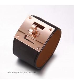 Hermes Kelly Dog Black Leather KD Bracelet Cuff Rose Gold HW
