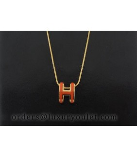 Hermes Orange H Logo Charm Necklace in 18kt Pink Gold