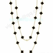 Van cleef & arpels Vintage Alhambra Necklace In Yellow Gold With 20 Onxy
