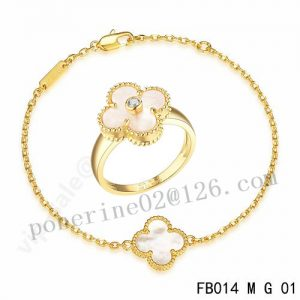 VCA clover Bracelet and Ring in yellow gold