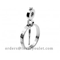 Cartier 3 Circle and Screwdriver Love Necklace in 18kt White Gold with Pave Diamonds