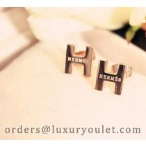 Hermes H Logo Earrings in 18kt Pink Gold