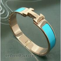 Hermes Clic H Narrow Bracelet Blue Enamel and Pink Gold
