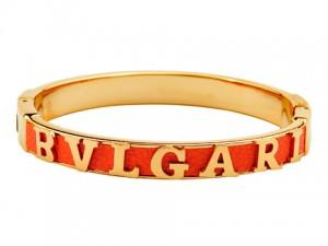 Bvlgari Orange leather bangle in yellow gold