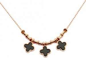 Van Cleef & Arpels three clover in pink gold bead necklace
