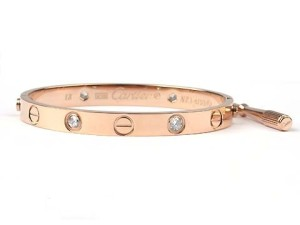 Cartier Love bracelet in pink gold with diamonds